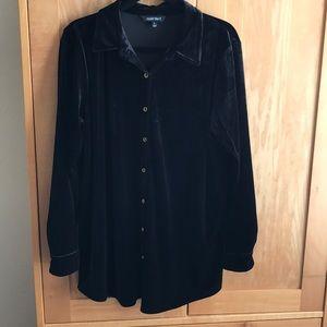 Ellen Tracy Black Velvet Shirt size large